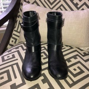 Ann Taylor black leather booties, size 7